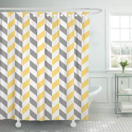 Image Unavailable Not Available For Color Emvency Shower Curtain Gray Abstract Herringbone Pattern In Grey Yellow And White