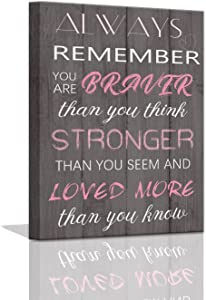 Pink Room Decor Inspirational Wall Art Motivational Gift Bedroom Decor for Teen Girl Cute College Student Gifts for Girls Wood Grain Background Girls Bedroom Decor Desk Decor Framed Wall Art 12x16inch