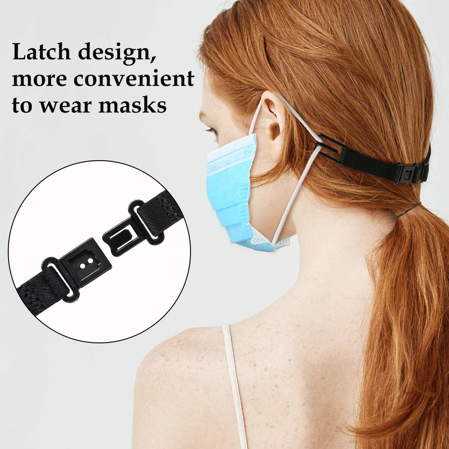 12, Black Child Ear Cord Extension Buckle Elastic Fabric Face Cover Lanyard Adjustable Anti-Slip Strap Face Covers Clips to Protect Ears Pressure Relief for Adult