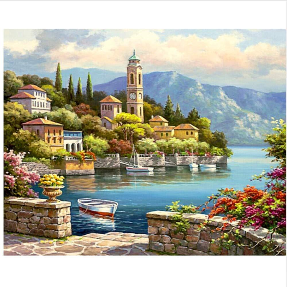Malen Nach Zahlen Seaside City, Leuchtturm, Weiße Wolken Home Decor Für Erwachsene DIY-Framed B07NWYL7K3 | Gewinnen Sie hoch geschätzt