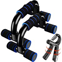 2-in-1 Premium Push Up Bars Kit with Adjustable Hand Grip Strengthener (11-132 LB), Portable Push Up Handles for Floor…