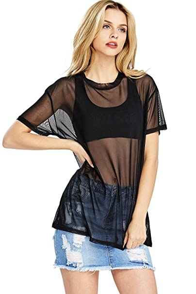 Quality Products 6faf1 58b40 Womens Oversized Mesh T Shirt Dress