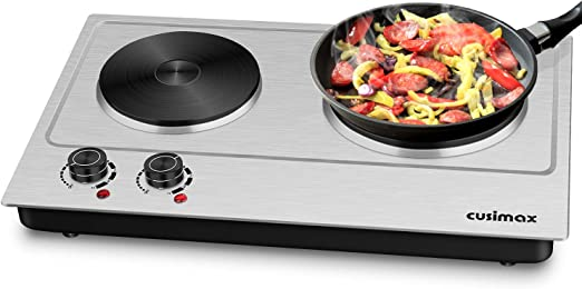 Cusimax Double Hot Plates, 1800W Portable Electric Hot Plate for Cooking, Stainless Steel Countertop Burner with Adjustable Temperature Control, Easy to Clean, Upgraded Version