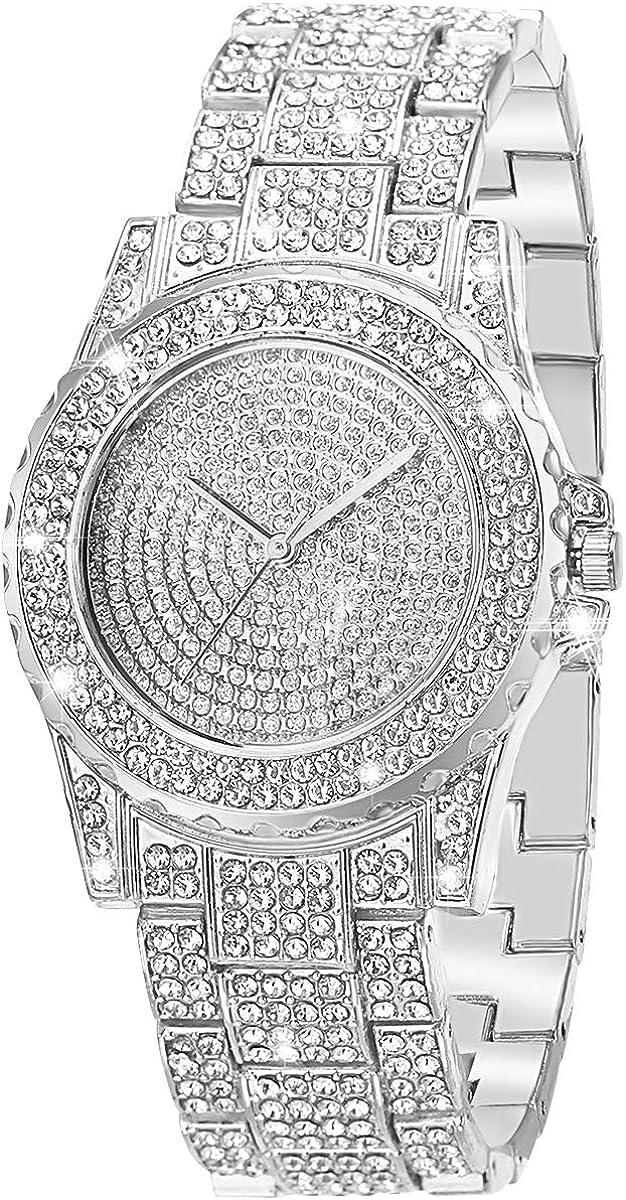 ManChDa Reloj para Mujer Iced out Hip Hop Bling Bling Relojes de Moda para Mujer Niñas Joyas Cristal Diamante Relojes para Mujer Reloj de Pulsera de Acero Inoxidable con Encanto de Cuarzo analógico