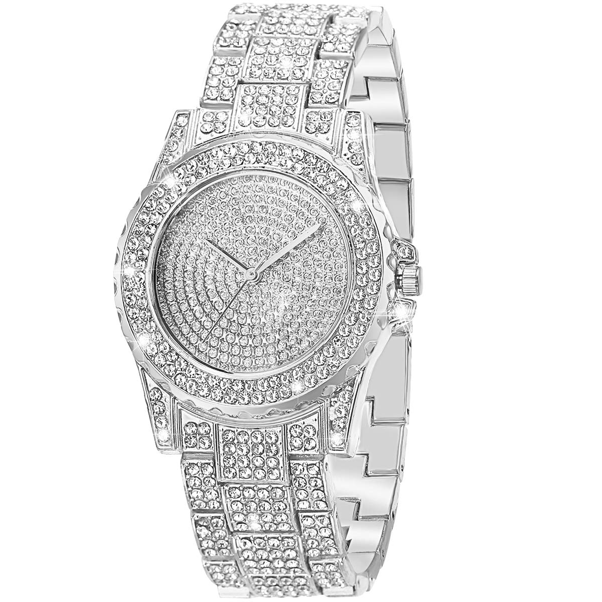 ManChDa Luxury Ladies Watch Iced Out Watch with Quartz Movement Crystal Rhinestone Diamond Watches for Women Stainless Steel Wristwatch Full Diamonds