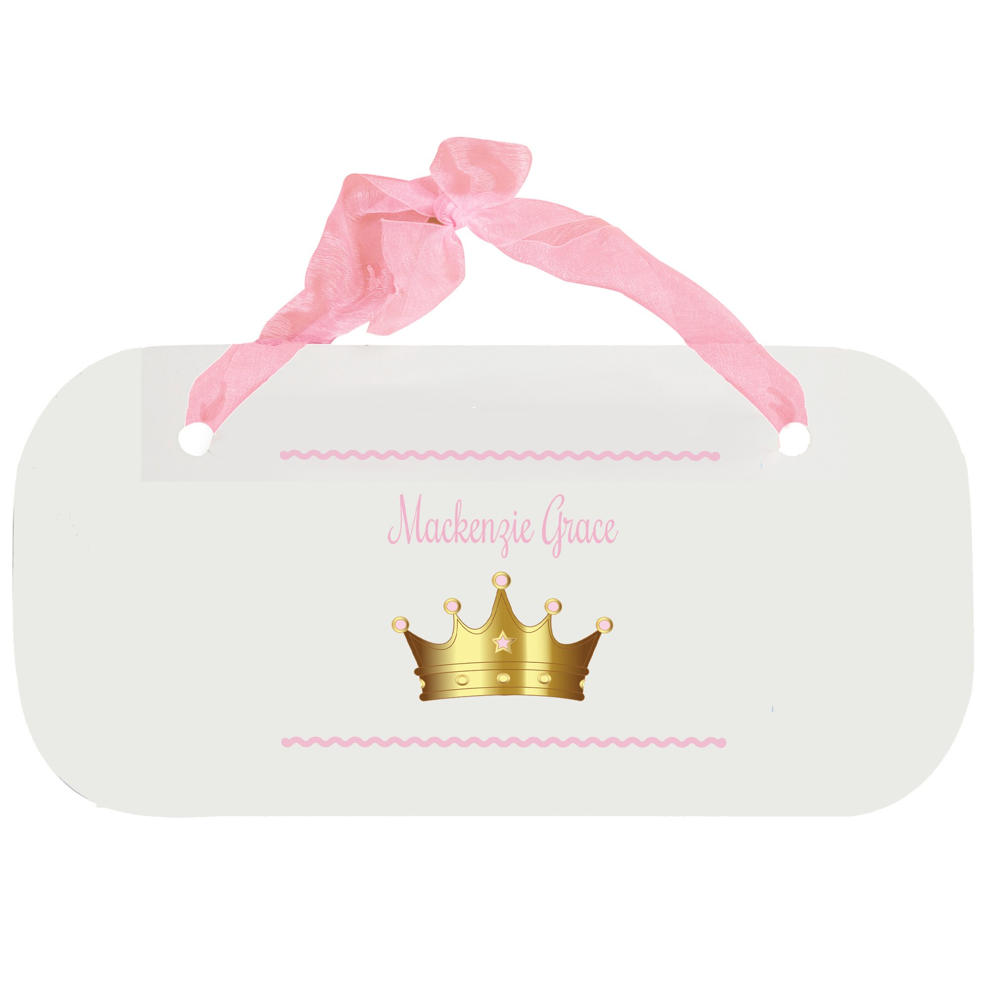 Personalized Pink Princess Crown Nursery Door Hanger Plaque with Pink Ribbon