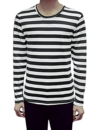3997016c60f4fd uxcell Men Long Sleeves Round Neck Stripes Slim Fit Tee Shirt Black S(US 34