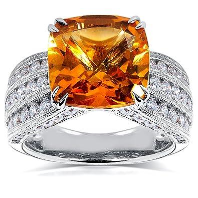 77b92840ee24 Kobelli 14 quilates oro amarillo corte cojín antique redondo H-I naranja diamante  citrina  Kobelli  Amazon.es  Joyería