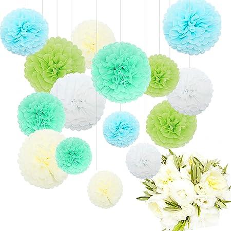 Image of Pompones de papel Feelshion de papel de seda, guirnaldas colgantes para decoración de boda o fiesta
