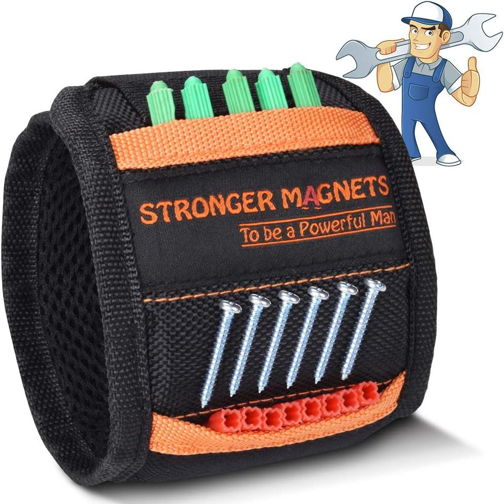 Regalos de Pulsera Magnética para Hombres - Artilugios Prácticos para Hombres Pulsera Magnética Regalo de Herramienta de Bricolaje, Herramienta de Muñeca para Sostener y Herramientas Pequeñas (Negro)