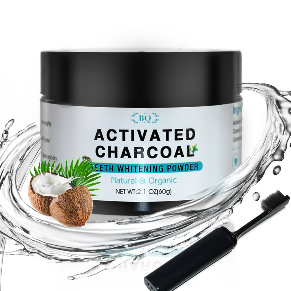 BQ Teeth Whitening Charcoal Powder Coconut Activated Charcoal Teeth Whitening Powder with Toothbrush 100% Natural Food Grade, 2.1 oz | Manufactured in Japan …