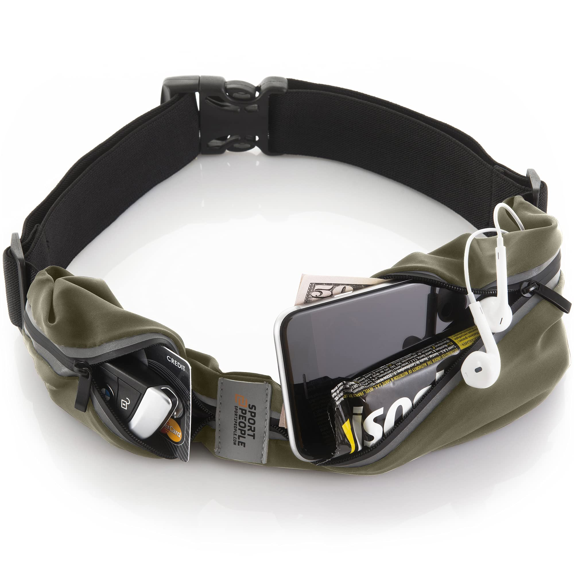 sport2people Running Pouch Belt, USA Patented, Cell Phone Holder Waist Pack iPhone for Men and Women hiking walking traveling accessories