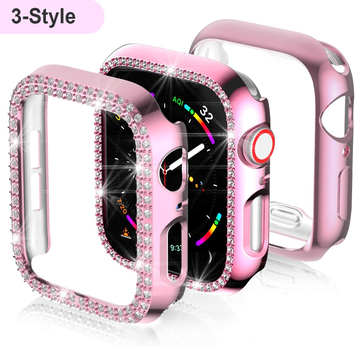3-Pack Apple Watch 38mm Screen Protector Case,JZK Bling PC Diamond Case Bumper Shell Frame & Soft Plated TPU Protective Case Full Cover for iWatch Series1/2/3 38mm Nike+, Edition Accessories,Pink