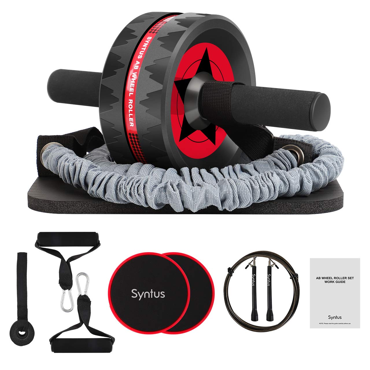 Syntus Newly 10-in-1 AB Wheel Roller with Knee Pads Resistance Bands Handles Grips Adjustable Skipping Jump Rope Core Sliders Door Anchor, Carry Bag & Guide BookHome Gym Workout Exercise