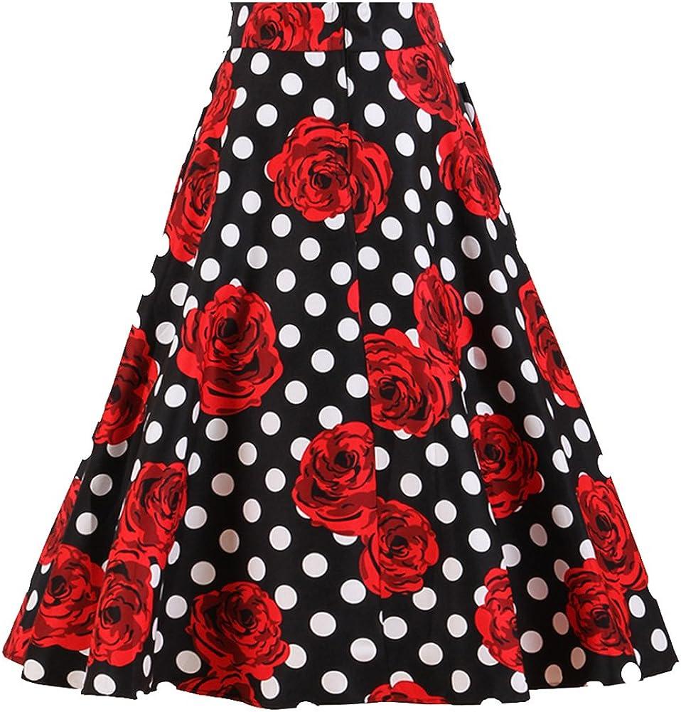 Candow Look Falda Flare Full lunares rojo las mujeres falda ...
