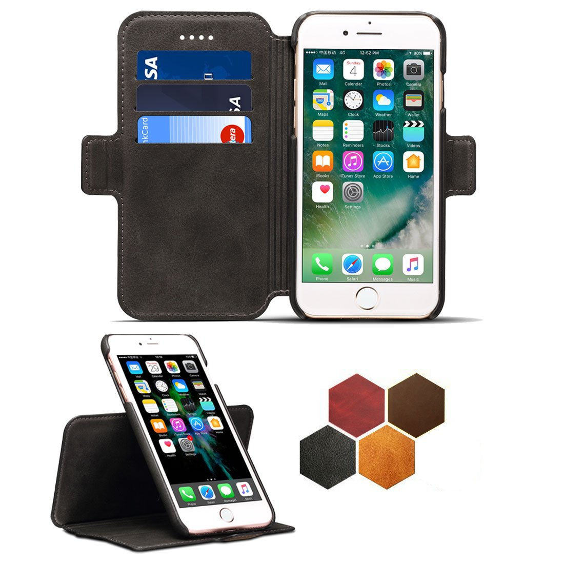 iPhone 8 Leather Case with Detachable SlimCase,iPhone 7 Genuine Leather Folio Flip Case Cover with Credit Card ID Holders,iPhone 6 Business Style Case Cover for Apple iPhone 6,6s by Sysmarts
