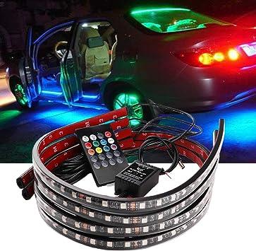 ZYTC Car Underglow Lights,60-90cm Led Strip Lights 12V RGB Neon Strip Lights 5050 SMD Multi Color Atmosphere Decorative Lights Strip Underbody Lighting Kit Sound Active Wireless Remote Control