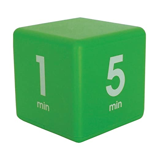 Green cube timer displaying 1 and 5 minute sides.