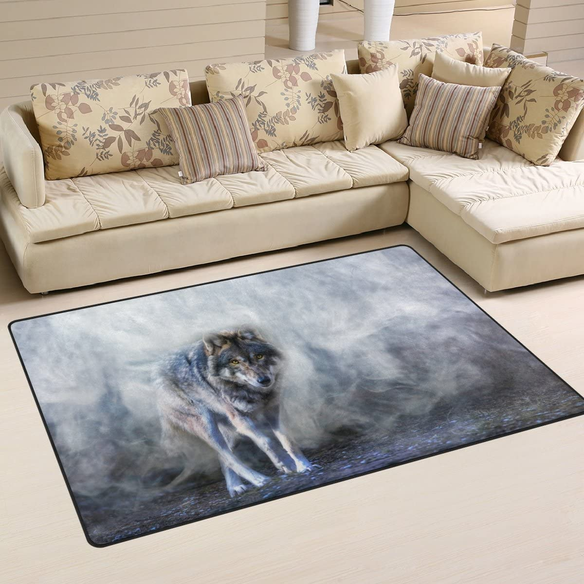 Yochoice Non-slip Area Rugs Home Decor, Stylish Running Wolf in the Mist Floor Mat Living Room Bedroom Carpets Doormats 60 x 39 inches