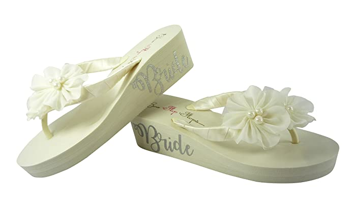 16ff856afb467 Amazon.com: Ivory Chiffon Flower Flip Flips with Silver Shimmer ...