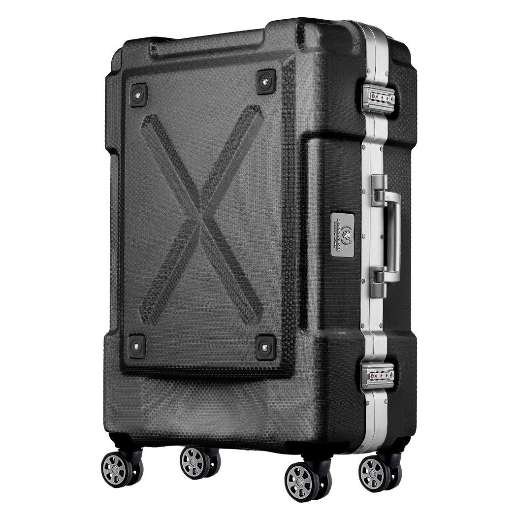 レジェンドウォーカー OUTDOOR アウトドア 背面収納付スーツケース 6303-69 超軽量 高強度 PC100%ボディ 4輪ダブルキャスター 無料受託手荷物サイズ (ブラック) B01MXZHTQHブラック
