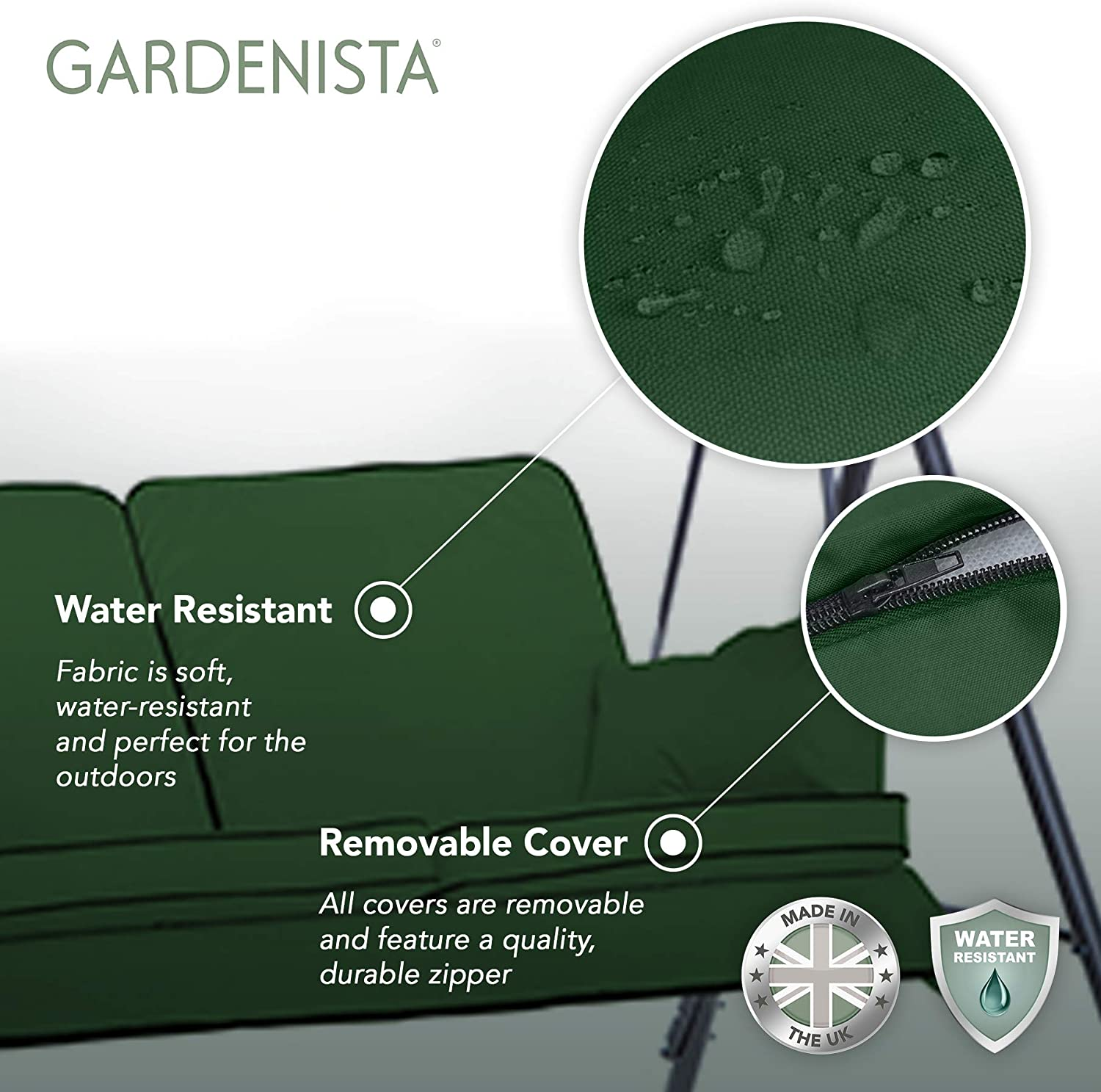 3 Seater Water Resistant Soft /& Comfortable Grey Canopy Outdoor Patio Furniture Replacement Cushion Seat Gardenista Garden Swing Hammock Bench Cushion