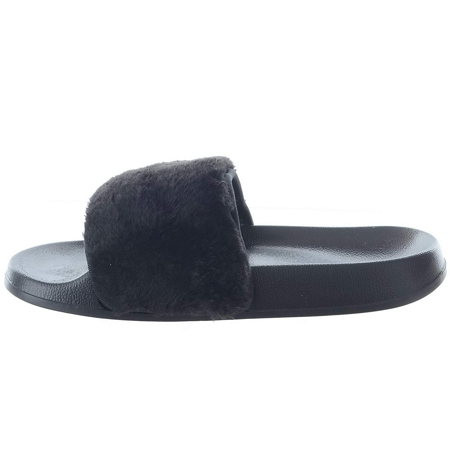 ad4e207a344f LADIES WOMENS COMFY RUBBER SLIDER FLAT SANDALS FAUX FUR TRIM SLIPPERS SHOES  SIZE 3-8  Amazon.co.uk  Shoes   Bags