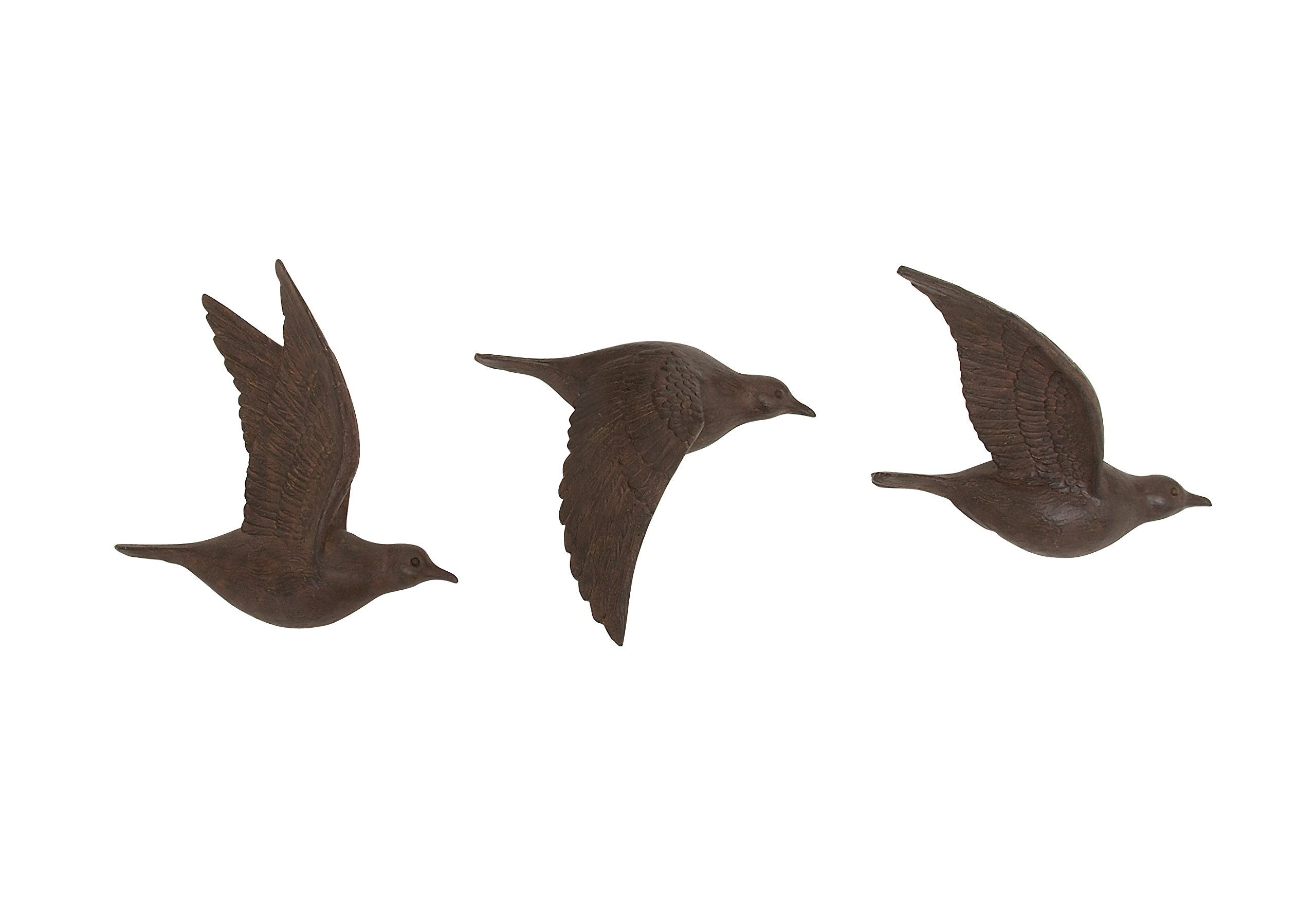 Deco 79 Polystone Bird Wall Decor (Set of 3), 11''/11''/10''