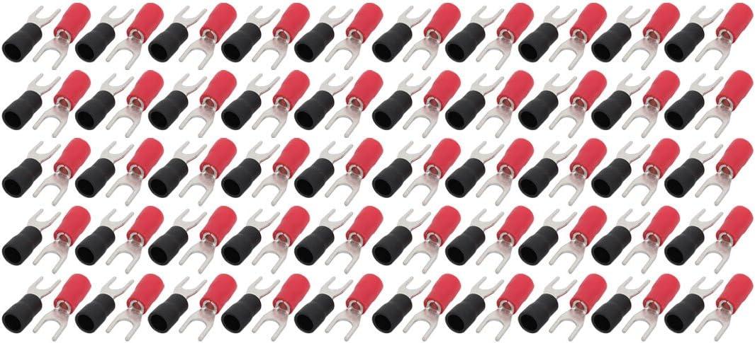 sourcing map 100 piezas Terminal de crimpado conector rojo negro aislado en forma de U para cable AWG 16-14