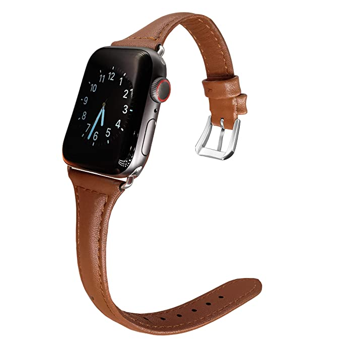 78f0b0e11ad Nochoice Narraw Strap Leather Bands Compatible with Apple Watch Band 38mm  40mm Slim Replacement Wristband Sport