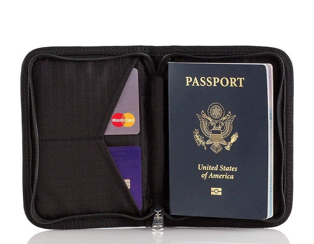 Porta Passaporto Portafoglio da Viaggio, Carta di Credito Custodia, Documenti Organizer con RFID Blocco Protezione per Uomo e Donna, Nero