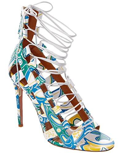 619a7b629670 Image Unavailable. Image not available for. Color  Aquazzura Amazon 105 Lace  Up Printed Leather Sandal