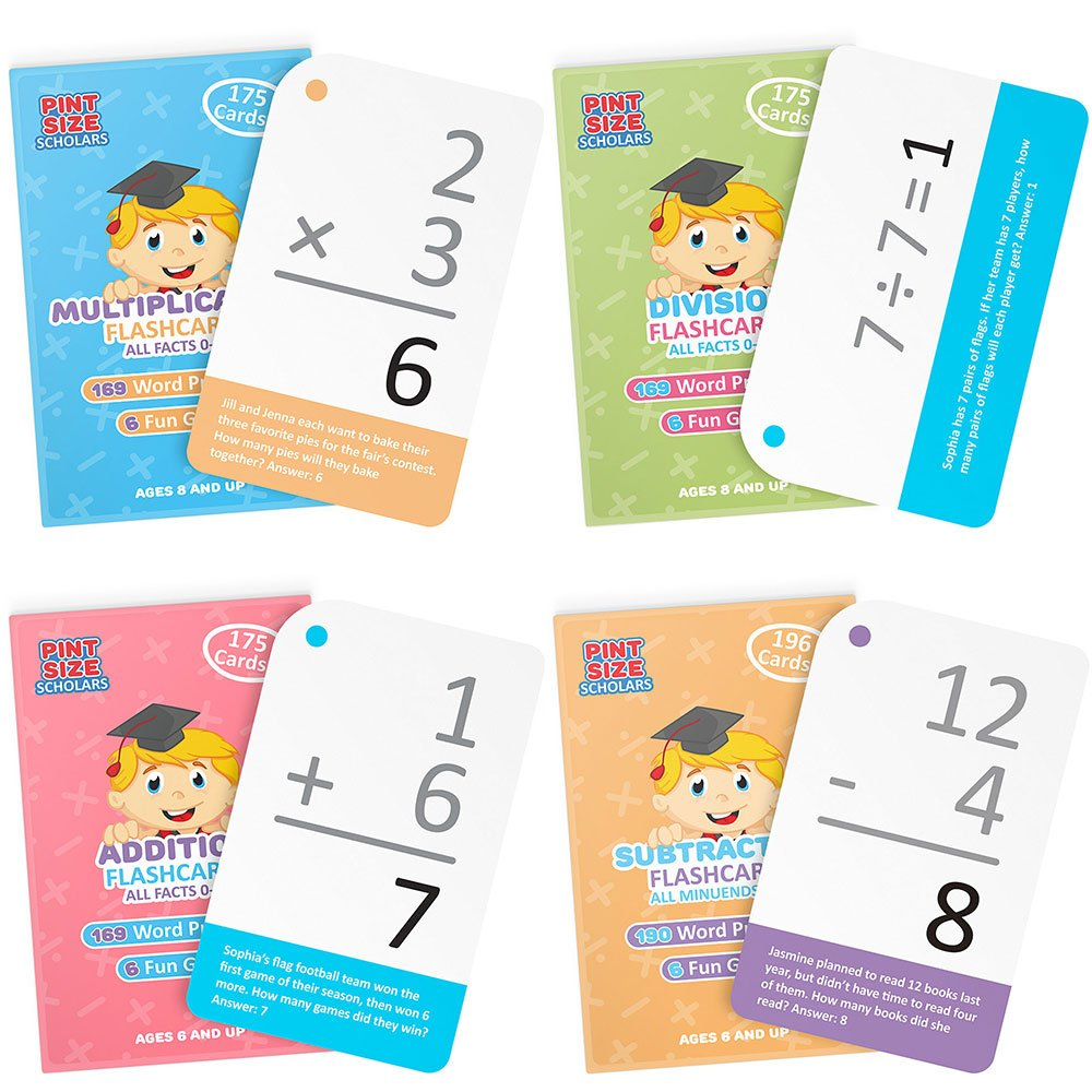 Math Mastery Bundle: 715 Self-Checking Flashcards with Word Problems, All Addition, Multiplication, Division Facts 0-12 and All Subtraction Minuends 0-18 by Pint-Size Scholars by Pint-Size Scholars