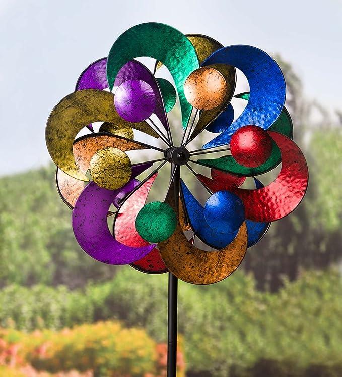Plow & Hearth Outdoor 4 Tier Metal Garden Wind Spinner Sculpture, 2 ft Diam. x 7 ft Tall - Multi-Colored