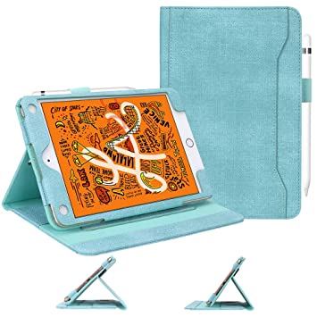 7.9 Mint Green 7.9 5th Generation with Pencil Holder and Card Holders 2019 // iPad Mini 4 iPad Mini 5 Case 2019 Skycase Canvas Multi-Angle Viewing Stand Folio Case for iPad Mini 5 2015