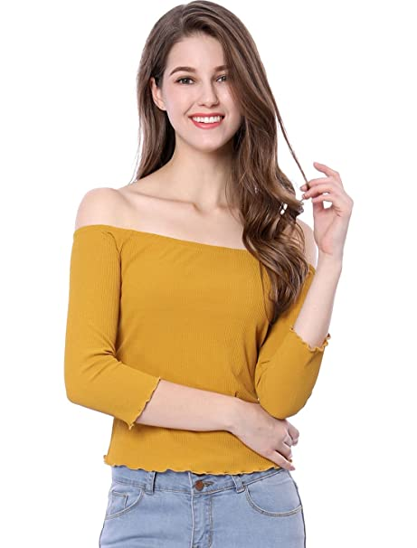 880c9ca637a37 Allegra K Women s Ribbed 3 4 Sleeves Off The Shoulder Slim Top XS Yellow