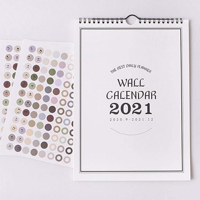 whelsara Calendario da Parete 2021 Agenda Domestica Calendario da Tavolo Cancellabile Verticale Blocchi Vuoti Mese Annuale Annuale Agenda da Parete Carta Spessa Blocco da scrivania Calendario