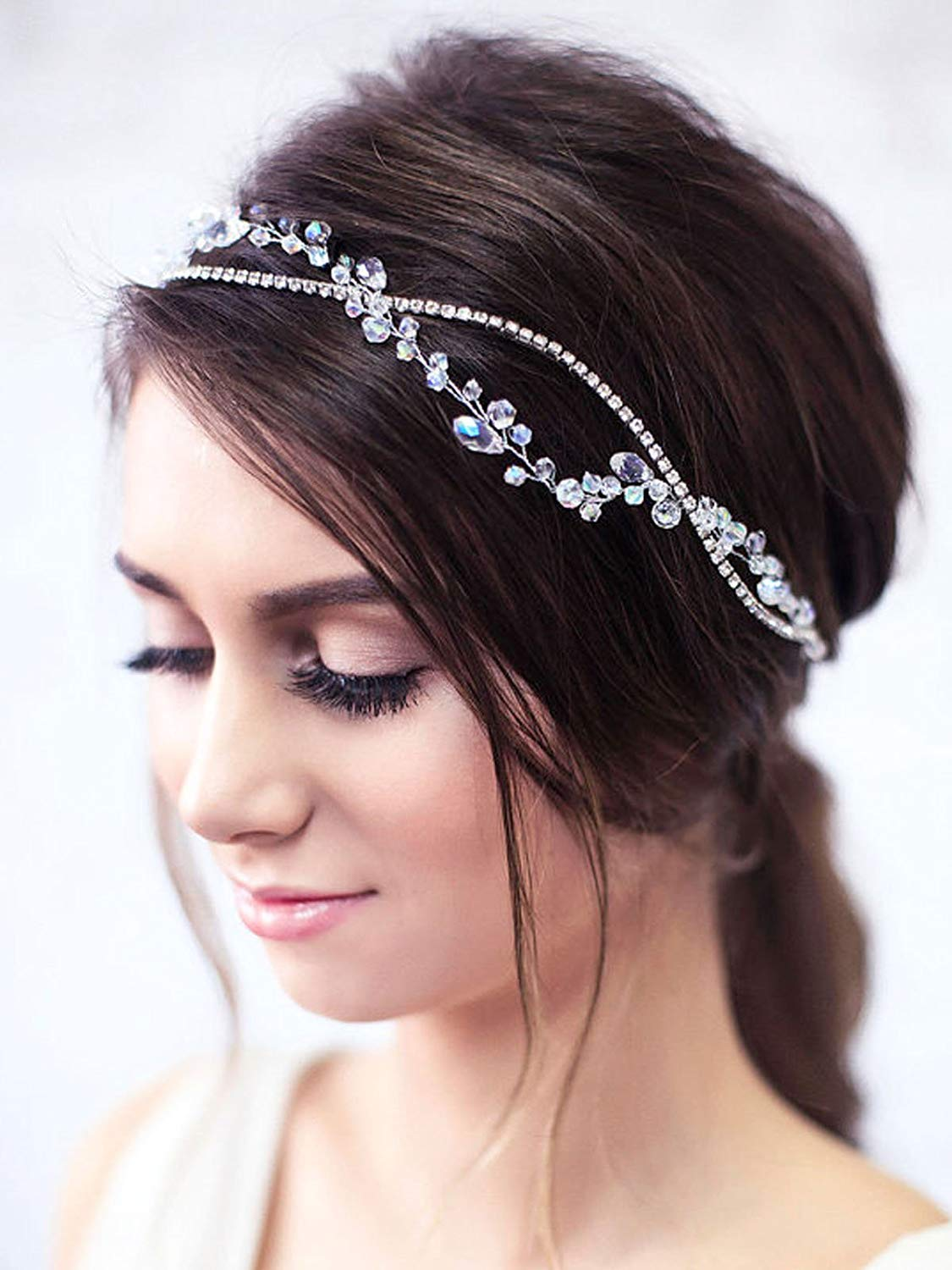 Simsly Wedding Hair Vines Rhinestone Headbands Bridal Hair Accessories CRYSTAL Dancing Prom for Brides and Bridesmaids (Silver) FS-148