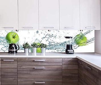 wandmotiv24 Küchenrückwand grüner Apfel 260 x 60cm (B x H) - Acrylglas 4mm  Nischenrückwand Spritzschutz Fliesenspiegel-Ersatz M0736