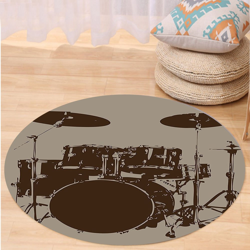 Kisscase Custom carpetMusic Decor Drum Kit for Bass Rythm Lovers Ba Dum Tss Image Sketchy Art for Bedroom Living Room Dorm Purple Grey and Black