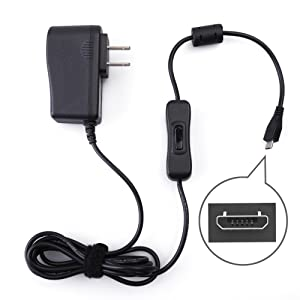 5V 2.5A Power Supply for Raspberry Pi 3 B B+, Samsung Galaxy Tablet, Huawei, Honor, LG, Xiaomi, ZTE, by LotFancy - Micro USB AC DC Charger Adapter with On Off Switch