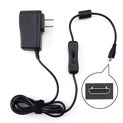 5V 2 5A Power Supply for Raspberry Pi 3 B B+, Samsung Galaxy Tablet,  Huawei, Honor, LG, Xiaomi, ZTE, by LotFancy - Micro USB AC DC Charger  Adapter