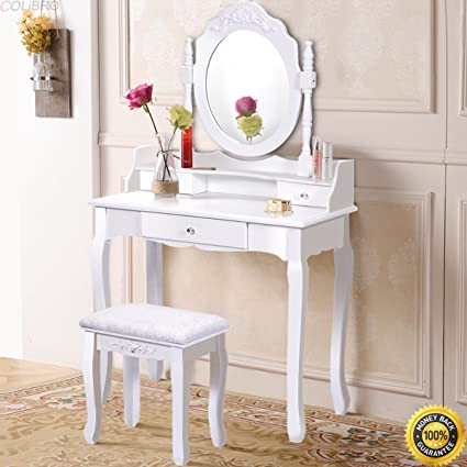 Amazon Com Colibrox White Vanity Wood Makeup Dressing Table Stool