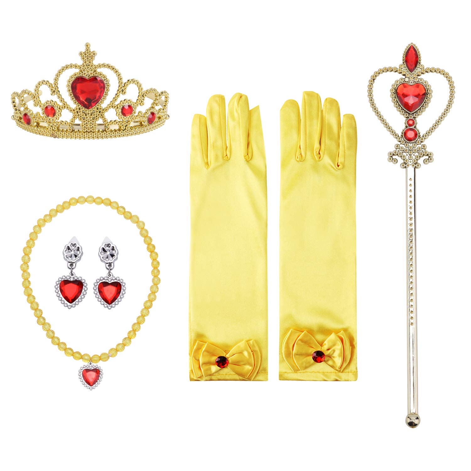 Girls Princess Dress up Accessories Set- Gloves,Tiara Crown, Earrings,Wand and Necklaces,Yellow, 5 Pieces.
