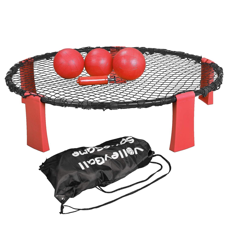 F2C レッド&ブラック バレーボール スパイク バトルゲームセット バウンストス ストライクボールゲームセット アウトドア 屋内 庭 芝生 ベンチ キャンプゲーム 遊び プレイネット付き ボール3個 巾着バッグ エアポンプ