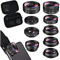iPhone Lens Kit, Phone Camera Lens 9 in 1 Zoom Telephoto Lens+198° Fisheye +0.35X Super Wide-Angle + 20X Macro Lens + 0…