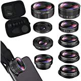 iPhone Lens Kit, Phone Camera Lens 9 in 1 Zoom Telephoto Lens+198° Fisheye +0.35X Super Wide-Angle + 20X Macro Lens + 0.63X W