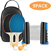 Tencoz Set de Tenis de Mesa, Set de Ping Pong Portátil con Red Retráctil, 2 Raquetas y 6 Pelotas, Palas Tenis de Mesa…