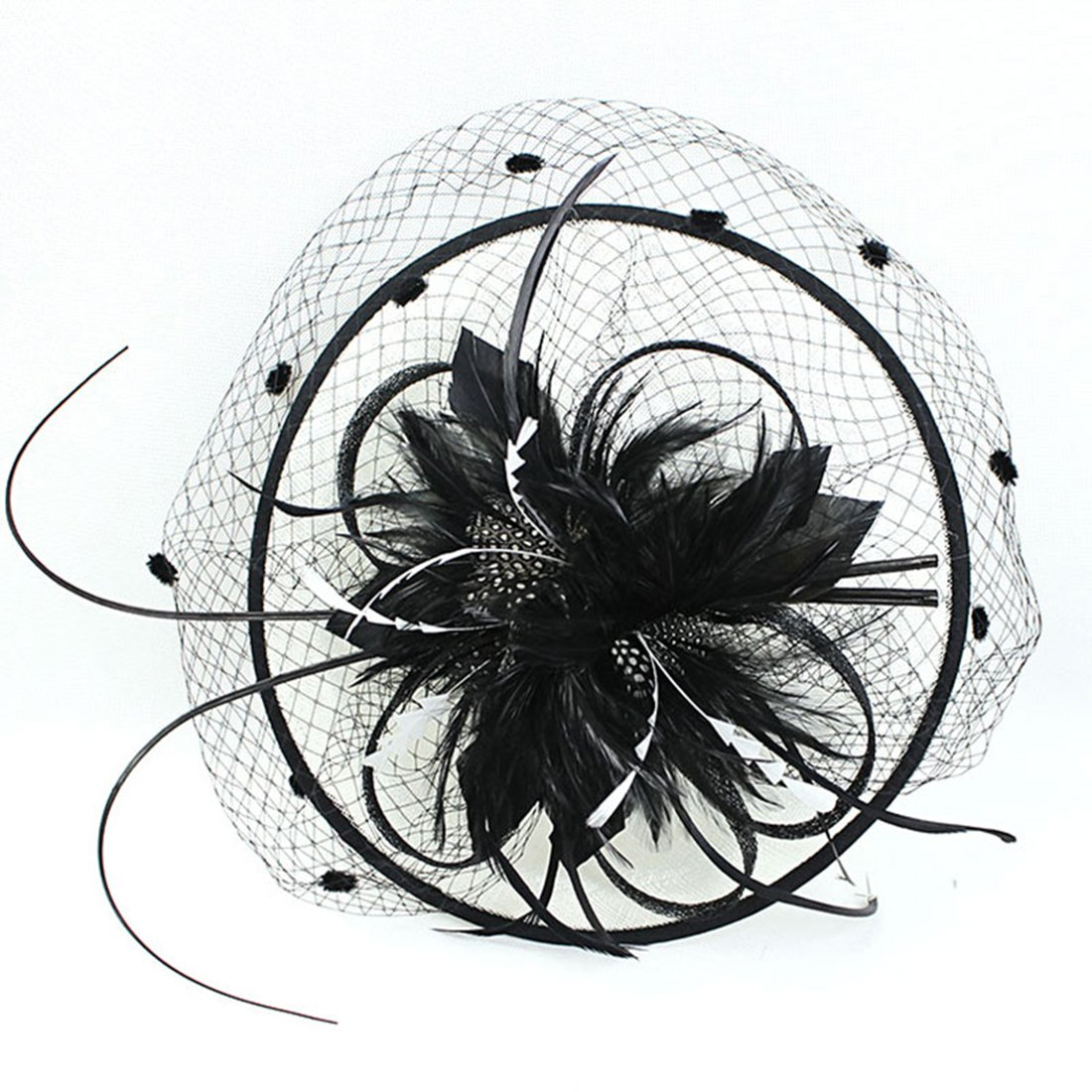 Z&X Fascinator with Headband Derby Party Feather Floral Mesh Pillbox Hat Black by Z&X (Image #5)