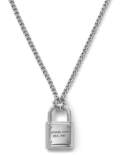79878d8c947b9 Amazon.com  Michael Kors Silver-Tone Logo Padlock Pendant Necklace  Jewelry